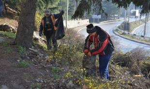В Ялте начали уборку мусора вдоль Южнобережного шоссе