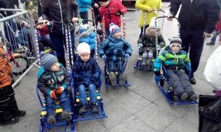 В новогодние дни дети смогли бесплатно покататься на необычных санках